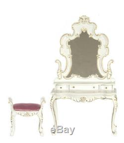 112 Scale Miniature Bourbon Bedroom Collection Dress Vanity & Stool