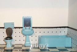 112 scale Dolls House Art Deco Bathroom set Blue BATBL