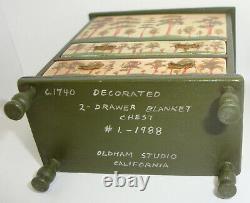 1988 #1. Oldham Studio Folk Art Painted Chest Dollhouse Miniature 112 C. 1820's