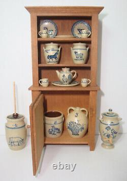 1988 Paul Rouleau Hutch Cupboard + 15 pcs IGMA Artist Jane Graber Stoneware 112