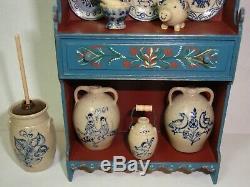 1996 Dollhouse Cupboard Renee Bowen Caroline Pierce + 19 pcs Jane Graber Pottery