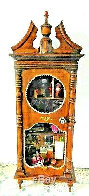 29 Antique Vintage Tramp Art Diorama Wood Doll House Furniture Furnishings ETC