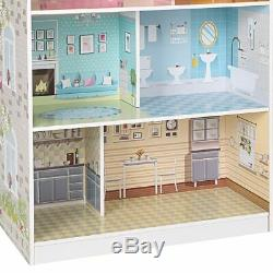 2in1 Kinderküche Puppenhaus Holz Spielküche Puppenstube Küche 3 Etagen Baby Vivo