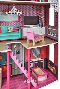 3 Story Doll House Kids Wooden Dollhouse Dolls Furniture Children Pink Girls Toy