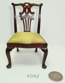 70's John Hodgson Dollhouse Miniature Carved Wood Chippendale Side Chair #1 of 3