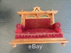 A RARE ANTIQUE SET of GERMAN DOLLS HOUSE FURNITURE SOLD BY HAMLEYS