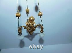 ANTIQUE DOLLHOUSE MINIATURE ERHARD & SOHNE THREE LT GAS LIGHT ormolu chandelier