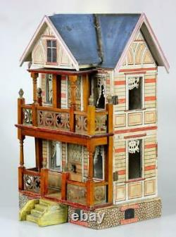 Amazing antique Blue Roof French villa Moritz Gottschalk German dollhouse