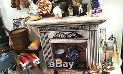 Antebellum Georgian Country Kitchen Fireplace Set Room Dollhouse 112 Miniature