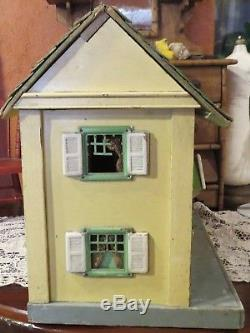 Antique C1920 Rare Large Size Schoenhut 4 Room Doll House withGreen Shingled Roof