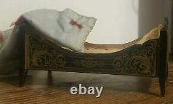 Antique Dollhouse Biedermeier Bed Miniature