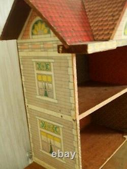 Antique Dolls House American Lithograph early 1900s plus furniture