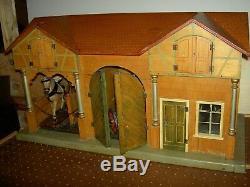 Antique German Moritz Gottschalk Blue Roof dollhouse farm, stable & loft, c1890