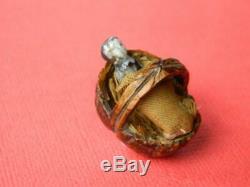Antique Hand Made Walnut Shell Basket & Miniature Frozen Charlotte Doll C1860