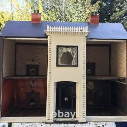 Antique Large Early 1900s Childs Nursery Dolls House And Furniture