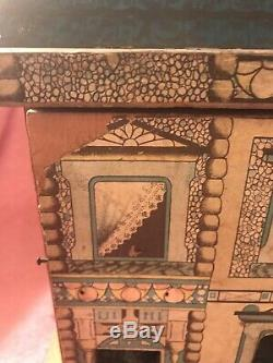 Antique R. Bliss 2 Story Paper Litho Over Wood Dollhouse