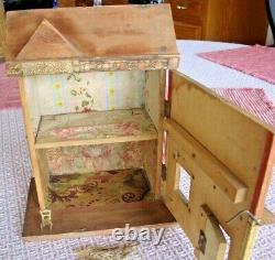 Antique R. Bliss Wood Doll House lithograph paper 2 story with chair