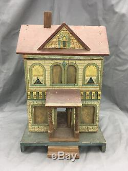 Antique R. Bliss Wooden Dollhouse Lithograph Wood Doll House 2 Story DD343