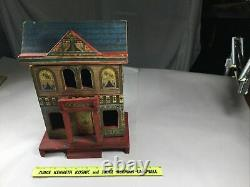 Antique R. Bliss Wooden Dollhouse Lithograph Wood Doll House 2 Story Original