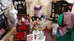 Antique Rococo Victorian Parlor Fireplace 100+pc Dollhouse Full Living Room 112