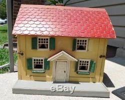 Antique Schoenhut Wooden Doll House with German Dollhouse Dolls