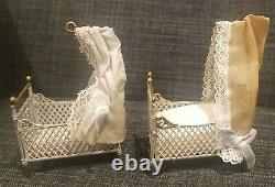 Antique Twin German doll house crib canopy bed set 2