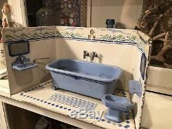 Antique circa 1900 German Marklin Miniature Bathroom Dollhouse Room Toy Complete
