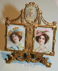Antique miniature ormolu dollhouse picture frame Erhard & sons 1900's