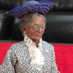 Artisan Glenda Hooker Miniature Dollhouse Sculpted 112 Doll Black Elderly