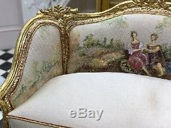 Artisan Maritza Moran Dollhouse Miniature Hand Painted Silk Settee 1/12 Scale