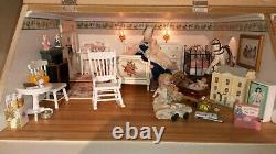 BEAUTIFUL DOLLS HOUSE BASEMENT PLUS FRENCH TABLE12th SCALE FULLY FURNISHED LIGHT