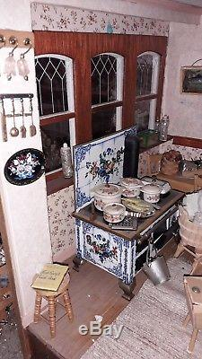 Beacon Hill 3 Story Dolls House Mansion 1/12 Scale Decorated & Furnished