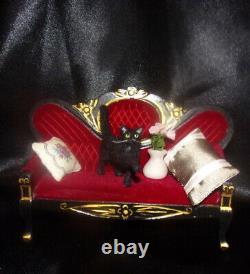 Black cat Dollhouse realistic OOAK miniature 112 handsculpted handmade IGMA