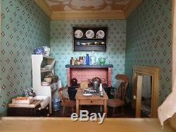 Charming Antique Fully Furnished Early Victorian Stucco Dolls House