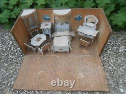 Coffret mobiliers chambre miniature poupée mignonnette circa XIXe état original