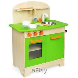 Cucina in Legno Giocattolo per Bambini con Pentole e Accessori Gioco 30x60x72cm