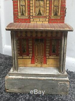 Cute Gottschalk Small Antique Dollhouse 2 room Red Roof Lithograph House