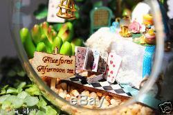 DIY Handcraft Miniature Dolls House LED Lights Alice's Forest Afternoon Tea