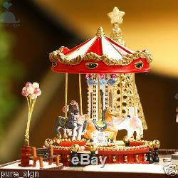DIY Handcraft Miniature Project Wooden Dolls House Merry Go Round Carousel