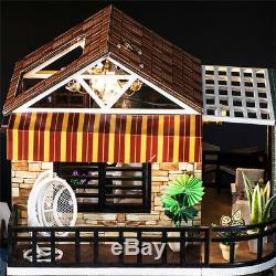 DIY LED Coffee Shop Dollhouse Miniature Wooden Furniture Kit House XMAS Gifts