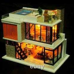 DIY Miniature Pool Doll House Wooden Furniture Architectural Villa Dollhouse Kit