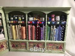 DOLLS HOUSE MINIATURE Green Triple Sew Shelf with Corner Shelf