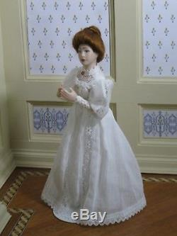 Debra Hammond Victorian Lady Doll White Lace Artisan Dollhouse Miniature DH-M300