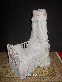 Dollhouse 112 Scale Dressed Canopy Baby Bed Serena Johnson Artisan IGMA CIMTA