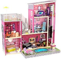 Dollhouse Barbie Size With Furniture Wooden Girls Girl Playhouse
