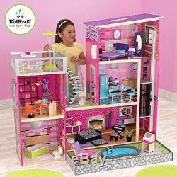 Dollhouse Barbie Size with Furniture Wooden Girls Girl Playhouse Doll Play House N