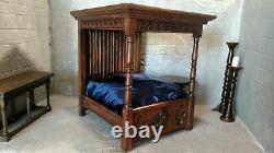 Dollhouse Medival Tudor TESTER BED Artisan Handcarved Linenfold Folkart 112