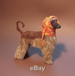 Dollhouse Miniature 112 AFGHAN HOUND in SNOOD, OOAK, Sculpted, Furred