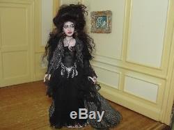 Dollhouse Miniature All Porcelain Esmeralda Doll Artist Cyndi Cannon OOAK