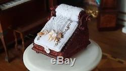 Dollhouse Miniature Artisan Antique style Lace Making Pillow Stand Bobbins 112